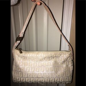 SOLD! Fendi Small Silver Beige Handbag Vintage 💕